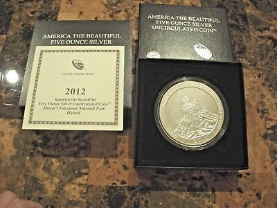 2012-P 5 oz Silver ATB HAWAII VOLCANOES with Boxes & COA  ( no spots)