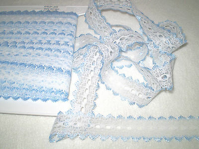 knitting in/eyelet lace 5 metres x 3.8cm wide white with blue edging