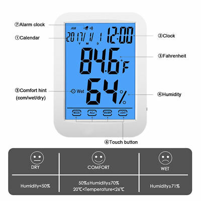 US New Digital LCD Hygrometer Thermometer Indoor Temperature & Humidity Monitor