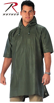 OD Green Emergency Durable Rubber Rain Poncho For Bug Out Bag Rothco