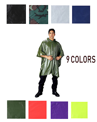 Rain Poncho Waterproof Vinyl Reusable W Pouch Rothco Waterproof Poncho