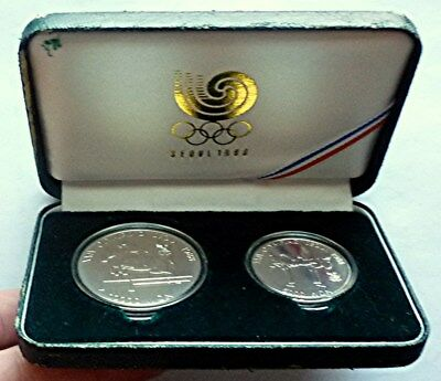 1988 SOUTH KOREA - SEOUL OLYMPICS MINT UNC SILVER SET (2) - ISSUE # 3 - 1.5 Oz