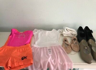 Gymnastics Ballet Tap dance leotard shoes and slippers lot