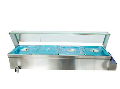 46×14×15in 4-Pan Buffet Bain-Marie Food Warmer 1500W 110V Steam Table Stainless