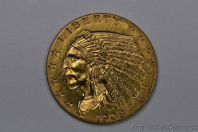1909 Indian Head $2.50 Dollar Quarter Eagle Gold Coin LOOK No Reserve GOLD|11245