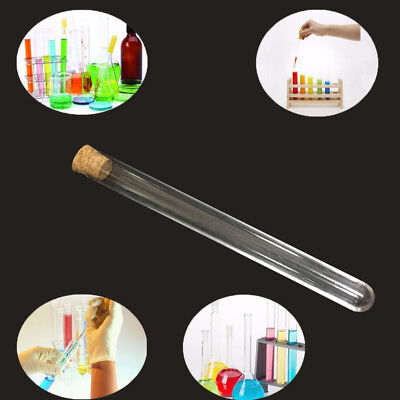 Glass Test Tube Round Bottom with Cork Stopper Borosilicate Chemistry TY