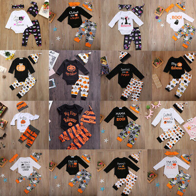 Halloween 3PCS/4PCS Newborn Baby Boy Girl Romper Jumpsuit+ Pants Outfits Clothes