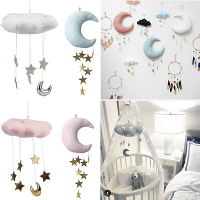 Nursery Style Moon Cloud And Star Baby Bed Mobile Hanging Room Decor Moon Dolls
