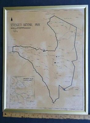 Vintage 1968 Serengeti National Park Map Print Framed