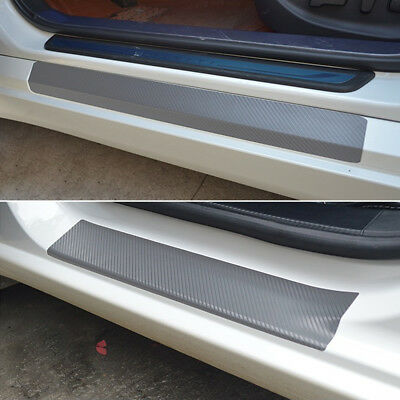 4* Car Door Sill Scuff Carbon Fiber Stickers Welcome Pedal Protect Accessories