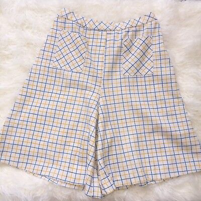 Womens Vintage 70's White Yellow Blue Plaid Culottes Polyester Flare Shorts