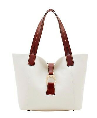 ❤️NWT, Dooney & Bourke White Pebble Leather Derby East West Shopper Tote,$298