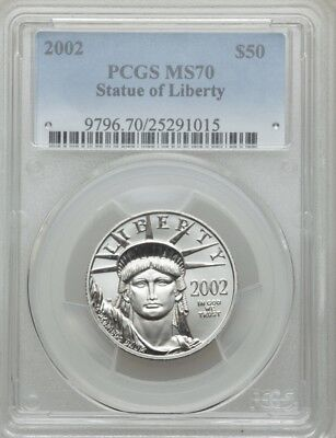 2002 Platinum Eagle Pcgs Ms70 $50 Statue Of Liberty Low Pop Only 19 Coins