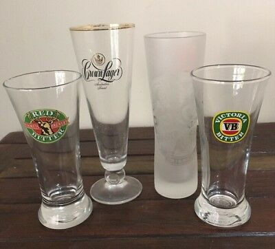 4 Beer Glasses PERONI NASTRO AZZURRO, Crown, VB, Tooheys  VGC