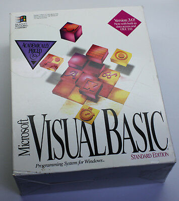 """Microsoft Visual Basic Version 3.0 for Windows on 3.5"""" Floppy Disks with Manuals"""