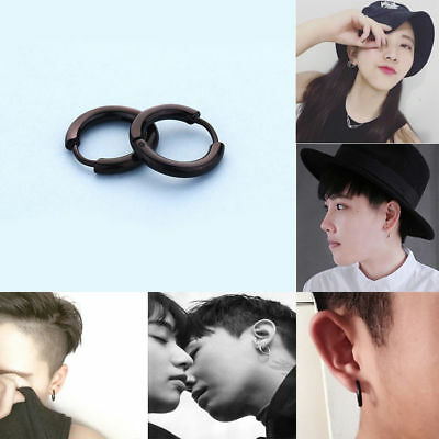 1 PAIR EARRINGS STAINLESS STEEL 316 L HOOP STUD GOTHIC Punk MENS WOMENS JEWELRY