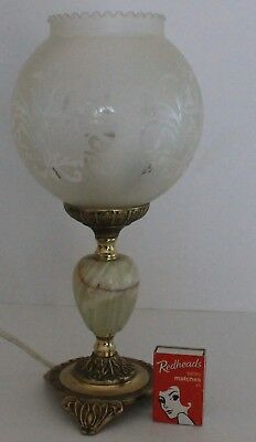 Brass Marble Lamp Solid Floral Frosted Glass Shade Bedside Table Italy Vintage