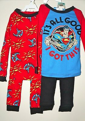 SUPERMAN Boys' 4 Piece Pajama Set Pants/Long Sleeve T-Shirts Size 4 NWT