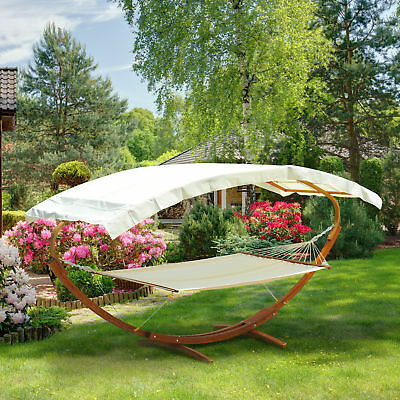 newOutsunny Wooden Canopy Double Hammock Bed Garden Outdoor Free Standing Lounge