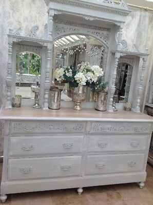 Very Large Carved Antique Double Chest Of Drawers With Engraved Mirror Sideboard