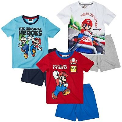 Boys Kids Children Super Mario Pyjamas Pjs Summer Set Shorts and Tshirt