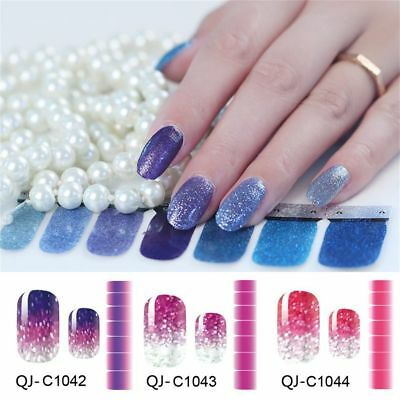 Wraps DIY Decals Glitter Powder Full Cover Nail Stickers Gradient Color