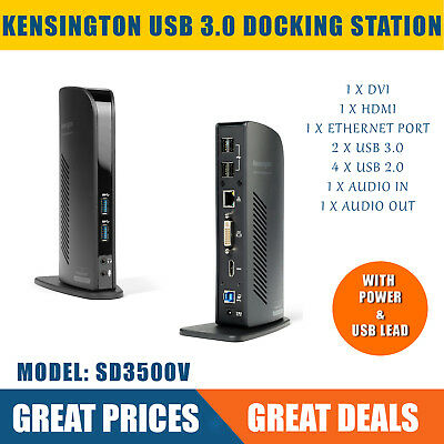 Kensington USB 3.0 Universal Docking Station with Dual Outputs, USB3, HDMI, DVI