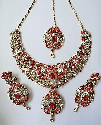 Indian Bollywood Red Gold Crystal Jewellery set Necklace, Earring and Tikka