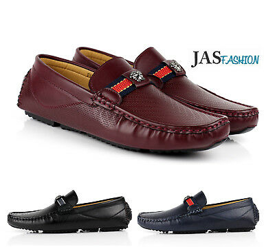 Mens Slip On Driving Shoes Italian Designer Loafers Casual Style Smart Moccasin