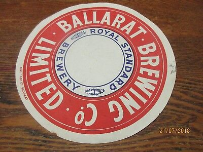 1936 Ballarat Bitter Beer Barrel Keg Label Royal Standard Brewing Co Limited