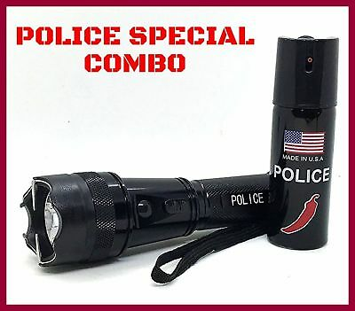 POLICE Combo Pepper Spray and Stun Gun 950 Mil V 4.7 Ma Rechargeable Flashlight