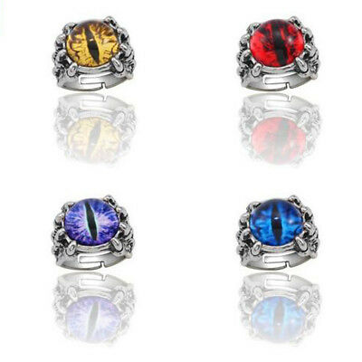 New Size 8-11 Men's Stainless Steel Dragon Claw Evil Eye Ring Rock Band Jewelry