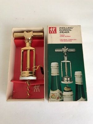 VINTAGE RARE NIB Gold Plated Twin Corkscrew by J.A. Henckels Zwillingswerk