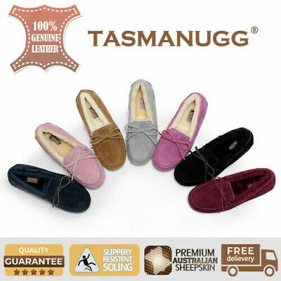 UGG- Australian Sheepskin Classic Lace Moccasin Suede Loafer Flats Ladies, 7 Cls