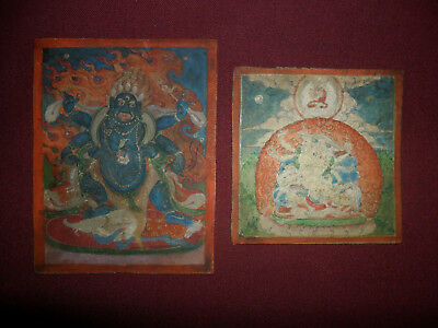 Antique buddhist 2 thangka painting fine old