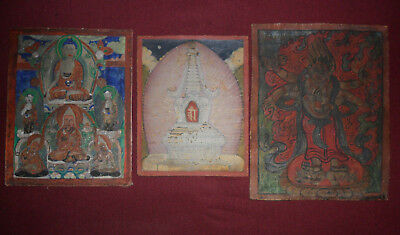 Antique buddhist 3 thangka painting old