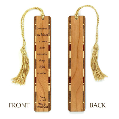 Alice in Wonderland Quote - Lewis Caroll Engraved Wooden Bookmark with Tassel