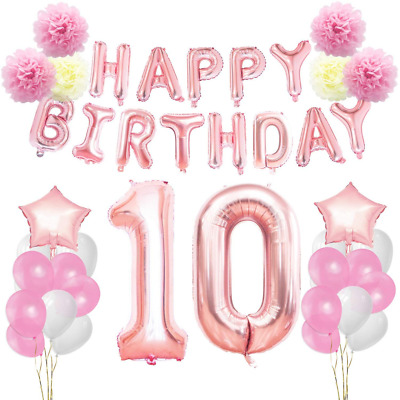 KUNGYO 10th Birthday Decorations Kit Rose Gold Happy Banner Giant Number 10 And