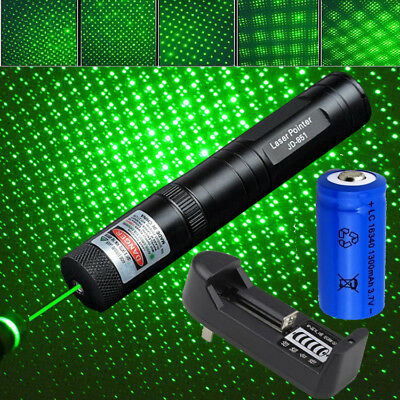 10Mile Powerful Green Laser Pointer+Star Cap 5mw 532nm Lazer Pen Beam Focus Zoom