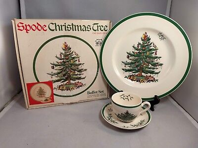 Spode Christmas Tree England Buffet Set in Box – Dinner Plate, Cup, and Saucer