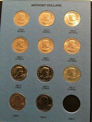 1979 1980 1981 1999 PDS SUSAN B ANTHONY DOLLAR COMPLETE 11 COIN SET Whitman