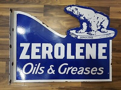 VINTAGE ZEROLENE OILS AND GREASES 2 SIDED Porcelain  23 X 18 INCHES WITH FLANGE