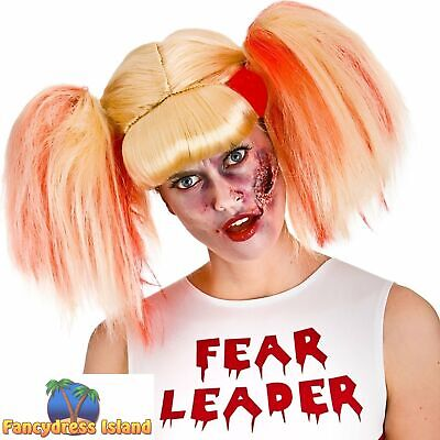 Zombie Cheerleader Bloody Ponytails Pigtails Wig Womens Fancy Dress Costume