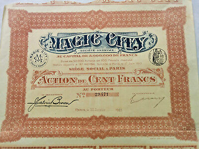 bon au porteur Actions Magic City 1911