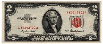 5✯ 1953 Two Dollar Note Red Seal ✯$2 Bill ✯Old Paper OLD Currency✯VG