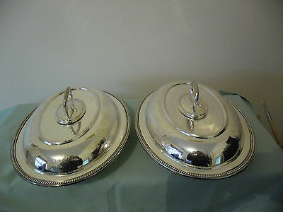 ANTIQUE SILVER PLATE SERVING DISHES   WILLIAM HUTTON c1900-1910