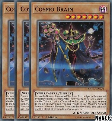 Yugioh - 3x Cosmo Brain CYHO-EN020 Common - 1st Ed - NM/M