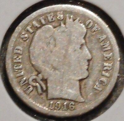 Barber Dime - 1916-S - Historic Silver! - $1 Unlimited Shipping