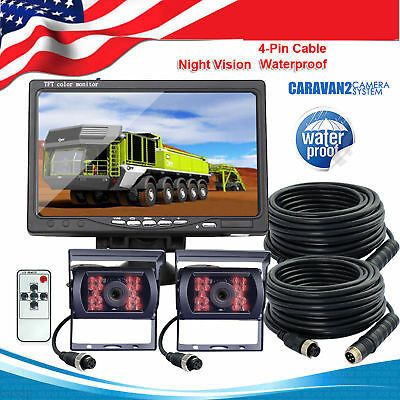 """7"""" Monitor For RV Truck Bus Trail 2x Rear View Backup Camera Night Vision System"""