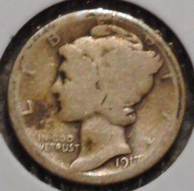 Silver Mercury Dime - 1917-S - Early Dates! - $1 Unlimited Shipping